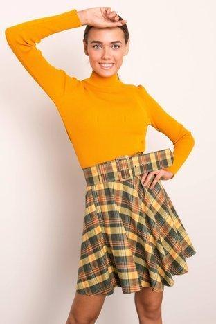 Khaki-żółta rozkloszowana spódnica BSL