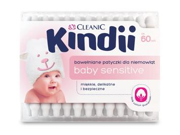 Kindii Baby Sensitive Patyczki bawełniane dla niemowląt  60 szt.