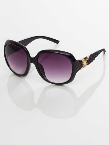 Klasyka i elegancja czarne okulary przeciwsłoneczne typu MUCHY z plecionką na zausznikach