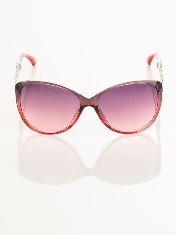 Klasyka i elegancja  okulary przeciwsłoneczne typu MUCHY ze złotym łańcuchem na zausznikach