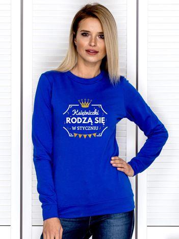Kobaltowa bluza damska KSIĘŻNICZKI ZE STYCZNIA
