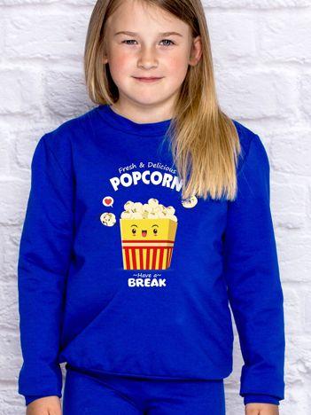 Kobaltowa bluza dziecięca z popcornem