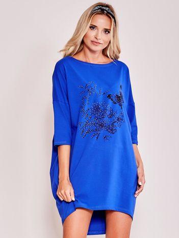 Kobaltowa dresowa sukienka oversize