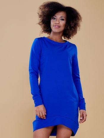 Kobaltowa dresowa tunika basic