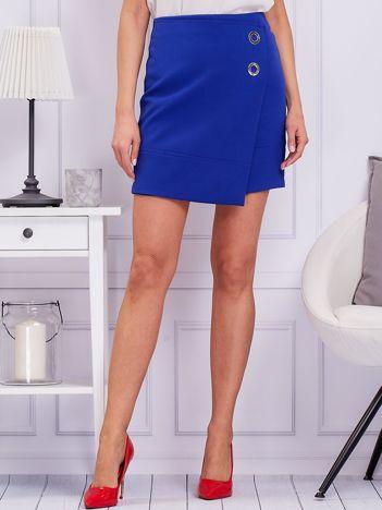 Kobaltowa spódnica ze srebrnymi kółeczkami