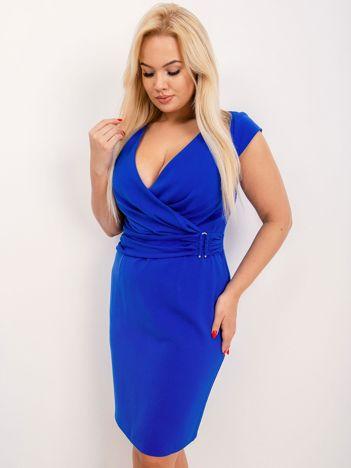 Kobaltowa sukienka plus size Pearl