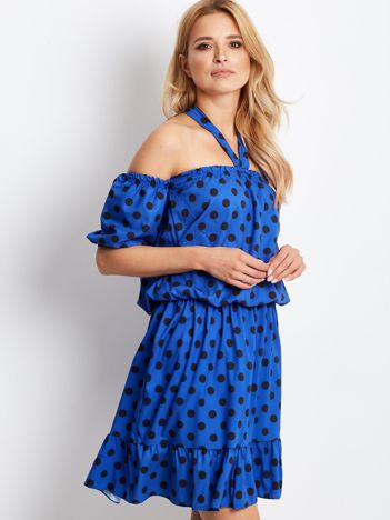 Kobaltowa sukienka w grochy wiązana na szyi