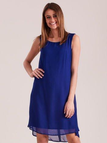 Kobaltowa sukienka z aplikacją z tyłu