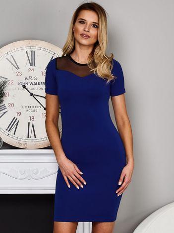 Kobaltowa sukienka z siatkowym dekoltem
