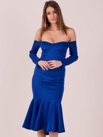Kobaltowa sukienka z szeroką falbaną na dole