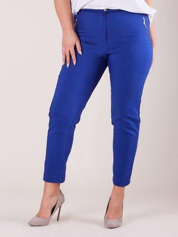 Kobaltowe spodnie z suwakami PLUS SIZE
