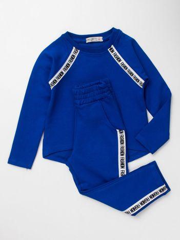 Kobaltowy komplet dresowy dla dziewczynki bluza i spodnie