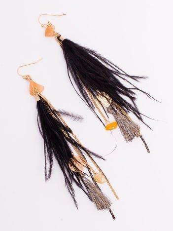 Kolczyki BOHO Chwosty Pióra Złote Długie Wiszące Feathers
