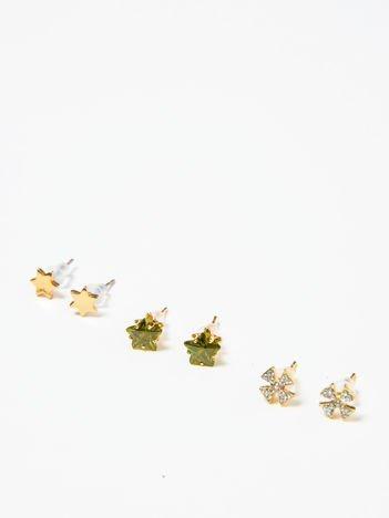 Kolczyki damskie złote z cyrkoniami zestaw 3 par gwiazdki