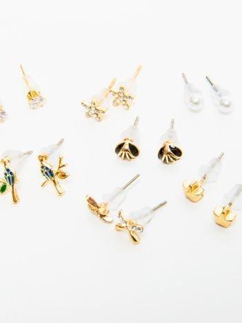 Kolczyki damskie złote z cyrkoniami zestaw 7 par motylki, gwiazdki, ptaszki, kuleczki
