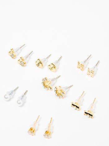Kolczyki damskie złote z cyrkoniami zestaw 7 par serduszka, kotki, myszki, kuleczki