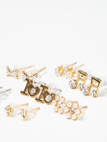 Kolczyki damskie złote zestaw 7 par z cyrkoniami nutki, kokardki, kwiatuszki