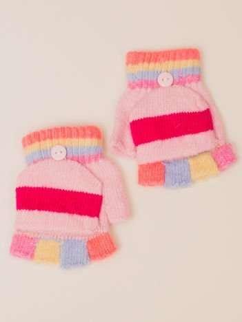 Kolorowe Dziewczęce Rękawiczki MITENKI Z KAPRUTKIEM  (5-8 LAT)