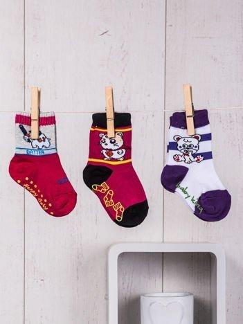 Komplet 3-sztuki skarpetek niemowlęcych w kolorowe nadruki z abs