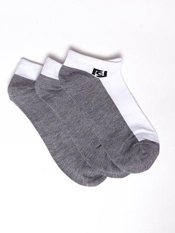 Komplet biało-szare bawełniane niskie skarpety sportowe męskie 3-pak