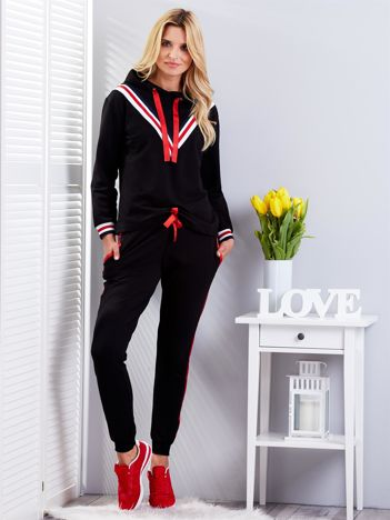 Komplet czarny z wykończeniem tricolor bluza i spodnie