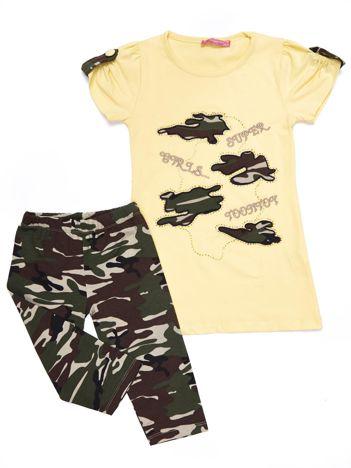 Komplet dla dziewczynki żółty tunika i długie spodnie moro