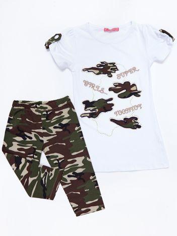 Komplet dziecięcy biały tunika i długie spodnie moro