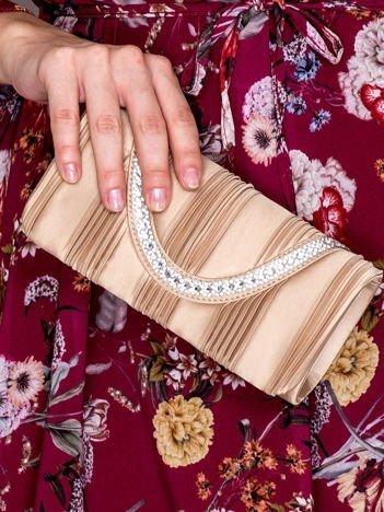 Kopertówka z biżuteryjnym paskiem piaskowa