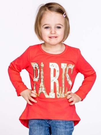 Koralowa bawełniana bluzka dziewczęca z napisem PARIS
