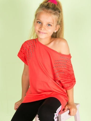 Koralowa bawełniana bluzka dziewczęca z palmami