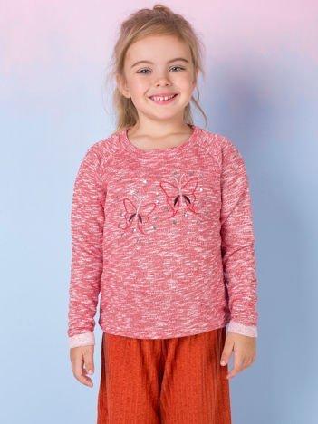 Koralowa bluza dla dziewczynki z cekinami
