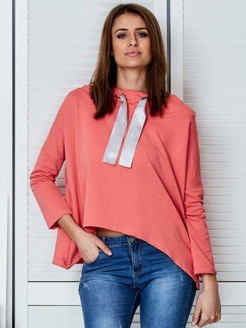 Koralowa bluza z kapturem i wstążką