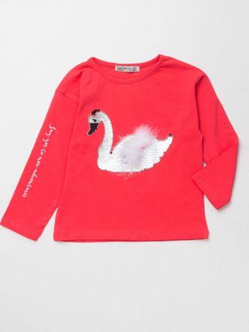 Koralowa bluzka dla dziewczynki z łabędziem