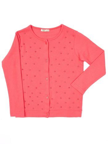 Koralowa bluzka dla dziewczynki z perełkami