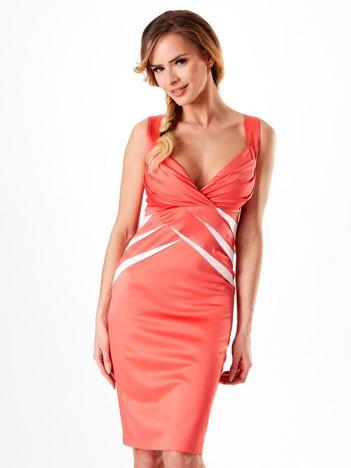 Koralowa dopasowana sukienka