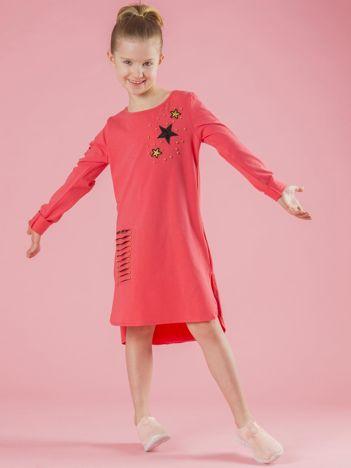 Koralowa tunika dla dziewczynki z perełkami
