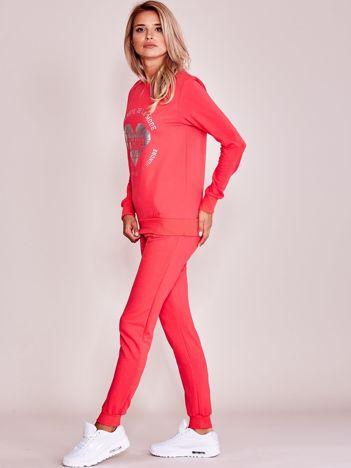 Koralowy komplet dresowy bluza + spodnie