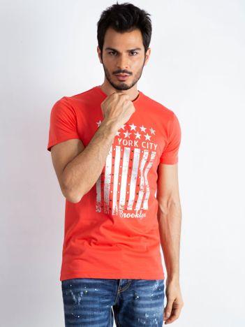 Koralowy męski t-shirt Designed