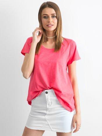 Koralowy t-shirt damski basic