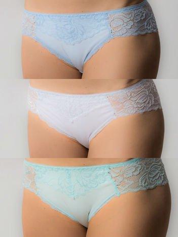 Koronkowe majtki damskie, 3 sztuki: błękitny, miętowy, biały
