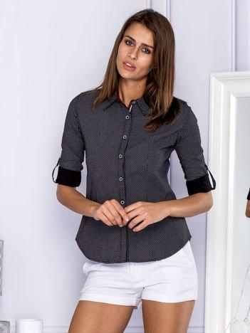 Koszula damska w groszki czarna