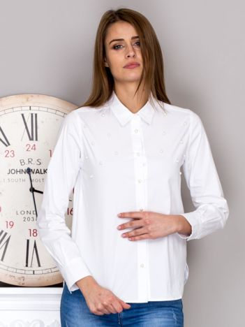 Koszula damska z perełkami biała