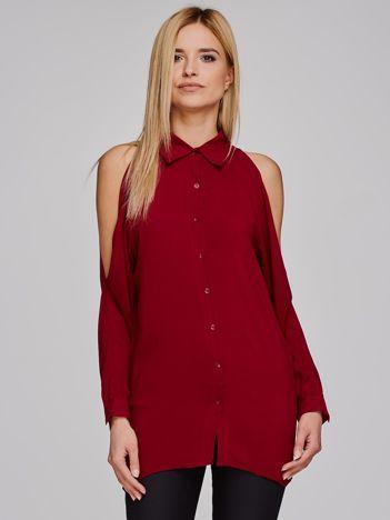 Koszula damska z rozcięciami bordowa