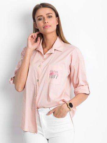 Koszula jasnoróżowa z nadrukiem flamingów