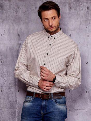 Koszula męska beżowa w kratkę PLUS SIZE