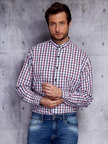 Koszula męska we wzór kolorowej kraty PLUS SIZE