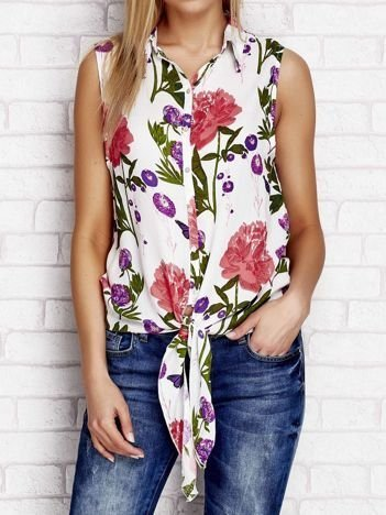 Koszula w kwiaty z wiązaniem biała
