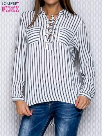 Koszula w paski ecru lace up