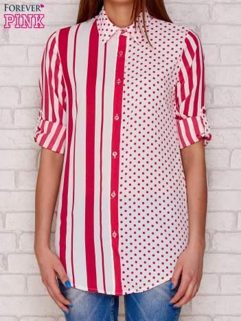 Koszula w paski i kropki fuksjowa