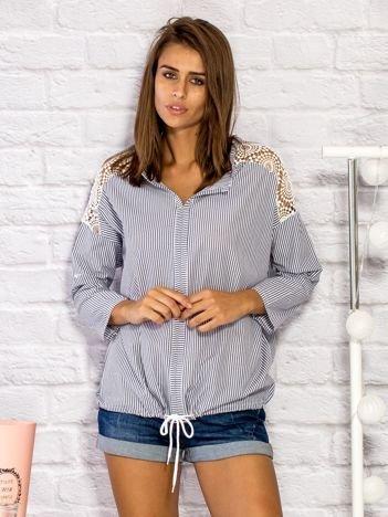 Koszula w paski z ażurowymi wstawkami szara